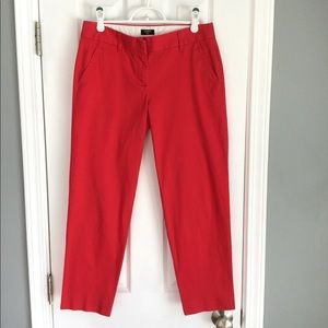 J Crew City Fit Stretch Red Skimmer Ankle Pants, 2